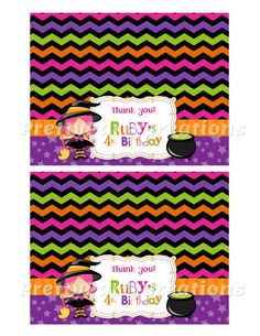 LITTLE WITCH bag toppers   You Print by PrettyPartyCreations