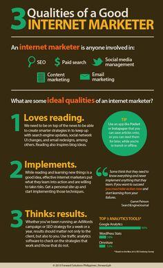 "DIGITAL MARKETING -         ""3 Qualities of a Good Internet Marketer #goodinternetmarketing #infographic""."