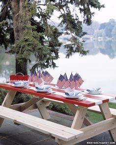 BBQ on a USA flag picnic table