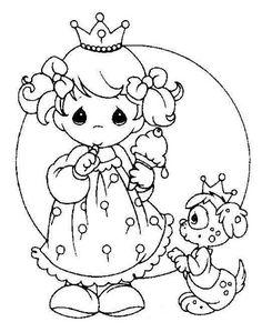 Princess & puppy precious moments coloring page