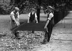 Removal of park railings for scrap metal to help the war effort, London 1940.