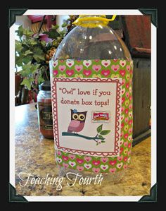 Use an apple juice container to make a cute container to collect Box Top.