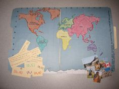 This is a geography file-folder game for 3rd grade. I used 2 file folders, construction paper, markers, and images printed from the computer. It allows students to practice graphing coordinates. It allows has fun facts and images from kids national geographic about the continent that the coordinates land on (a few of both are shown). The coordinates are written in the same color of the continent it connects with.