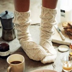 Breakfast + Cozy knit socks= perfect morning