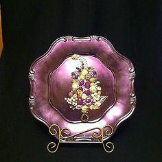 Framed Vintage Jewelry Christmas Tree Purple