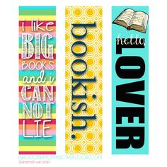 Free Printable Bookmarks - Give hubby a book with these bright bookmarks. :)