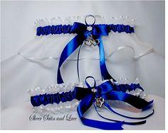 DOUBLE HEART Wedding garters ROYAL BLUE Garter set. $22.99, via Etsy.  #Bridal #Wedding #Garters #Belts