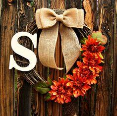 Autumn Orange Flower Wreath with Monogram - Initial Wreath - Grapevine Wreath - Fall Wreath