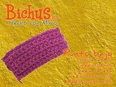Bichus - Ganchillo Básico 4 : Punto bajo sobre labor, vueltas centrales