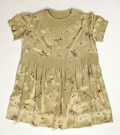 hand embroidered, ruched silk French child's dress ... House of Paquin, c. 1930