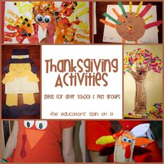 Thanksgiving Activites to do with your child at home, after school or even with a playgroup from The Educators' Spin On It