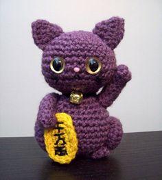 Purple Maneki Neko Amigurumi - Good Luck Cat for Prosperity