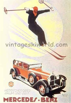 Mercedes Benz Poster with Skier