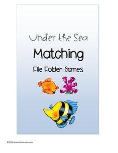 File Folder Games !!!! 3 Under the Sea Summer Matching File Folder Games (Pre-k, K, Autism & Special Education)
