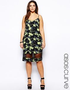 ASOS CURVE Exclusive Cami Dress In Tropical Palm Print