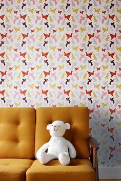 origami wallpaper, via decor8
