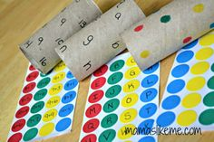 Toilet roll learning activities -- includes color matching, letters (upper and lower case), and simple math.  So simple!