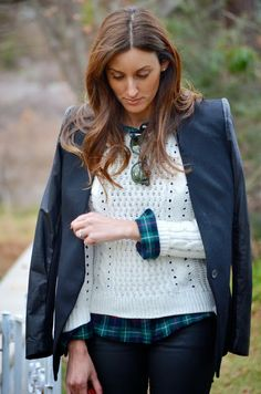 plaid + cable knit + leather