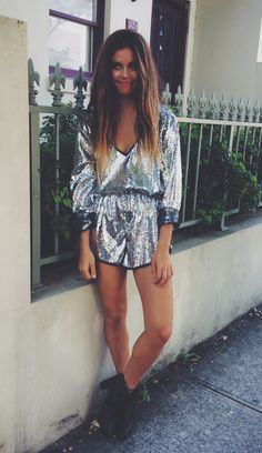 Mimi in my sequin jumpsuit .. Available The Naked Tiger facebook