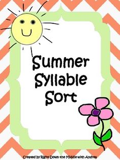 Summer Syllable Sort is a great center activity for your students to demonstrate their knowledge of syllable counting. The students work with one syllable, two syllable, and three syllable words. ($)