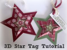paper star ornament tutorial, stampin up, star framelits, star tag