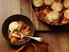 Peach and Raspberry Cobbler from #FNMag