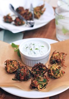 Herbed Zucchini and Feta Fritters w/ Greek Yogurt Sauce