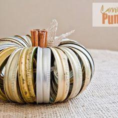 Pumpkin out of mason jar rims. Love!