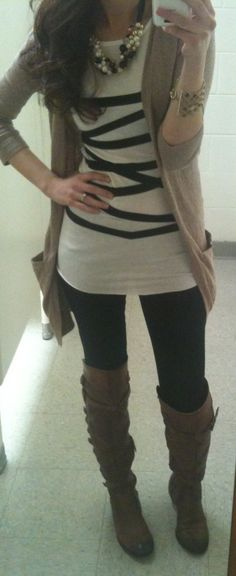 Fall style - black leggings, brown boots, light sweater, striped shirt.