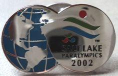 PARALYMPIC GAMES PIN Salt Lake 2002 Globe World Sivertone Blue Hat Tack Badge