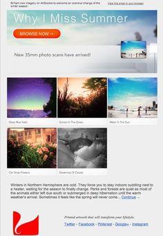 "ArtSocket e-mail #design. ""Why I Miss Summer"" themed blast."