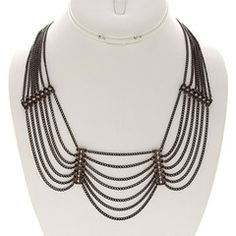 After Dark Hematite and Rhinestone Statement Necklace-$31.50-Find hot fashion jewellery and statement jewlry at Strike Envy. #jewellery #jewlry