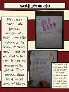 Math Journals in early elementary! Awesome!