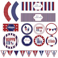 PRINTABLE FULL PARTY - 4th of July Holiday party Collection by Love The Day. $10.00, via Etsy.