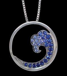14K White Gold Nature Graduated Blue Sapphire Wave 20mm Pendant