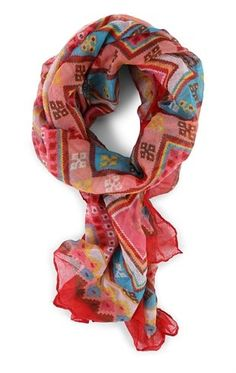 Deb Shops Woven Scarf with Diamond Print $6.00