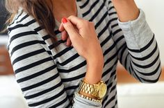Stripes + gold + red nails