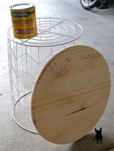 Create a unique sidetable with just three ingredients! An unusual base, a pine round and some Minwax stain. nurseri