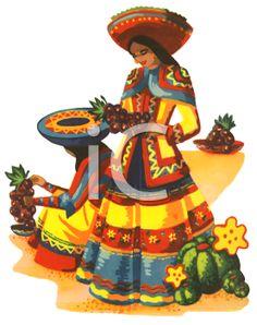 Traditional Mexican Woman - Cinco de Mayo Clipart Image