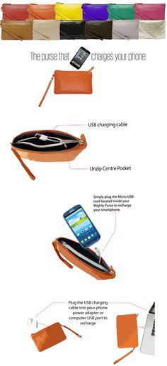 """The absolute HOTTEST gift this holiday season!  Must pre-order to guarantee delivery.  Phone Charging """"Mighty Purse"""" by Handbag Butler   A perfect fusion between fashion and technology, the Mighty Purse is an essential handbag accessory for the modern day woman.  Featuring a unique, lightwei..."""
