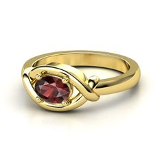 Oval Red Garnet 14K Yellow Gold Ring Lay Down