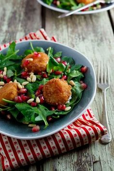 Fried Goat's Cheese and Pomegranate Salad