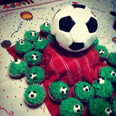 Soccer cupcakes for a soccer birthday party.