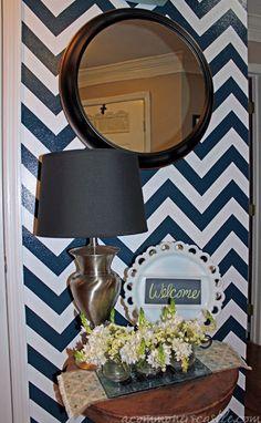 beautiful navy chevron striped wall -- full tutorial #chevron #stripe #painting #wall