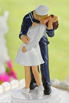 Military USN   Navy Sailor Kiss Bride Wedding Cake Topper.