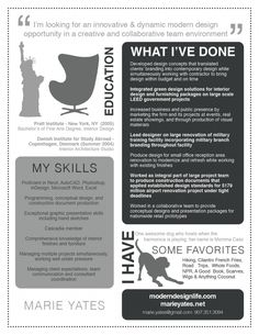 interesting resume from an interior designer/graphic designer