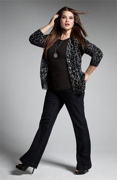 Sejour Cardigan, Tee & Jag Jeans Denim Trousers | Nordstrom