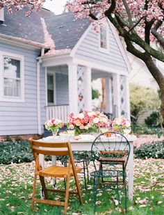 Happiness is... a garden party front gardens, cottag, blossom trees, front yards, blue houses, garden parties, tea, dream houses, cherry blossoms