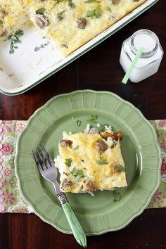 Sunrise Breakfast Casserole #breakfast #makeahead #casserole cooking-notebook