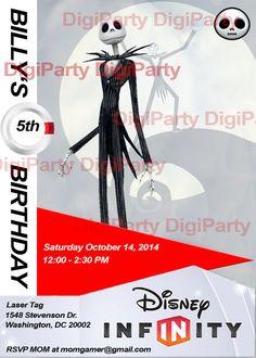 New birthday invitation Jack Skellington Disney Infinity $9.99 at https://www.etsy.com/listing/173610422/jack-skellington-birthday-party